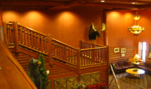 Custom rustic log railings at Great Escape Lodge and Indoor Water Park by Adirondack LogWorks