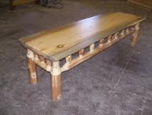 Custom rustic log coffee table furniture by Adirondack LogWorks