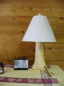 Log lamp with flair woodwork by Adirondack LogWorks