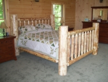 Rustic log queen bed by Adirondack LogWorks