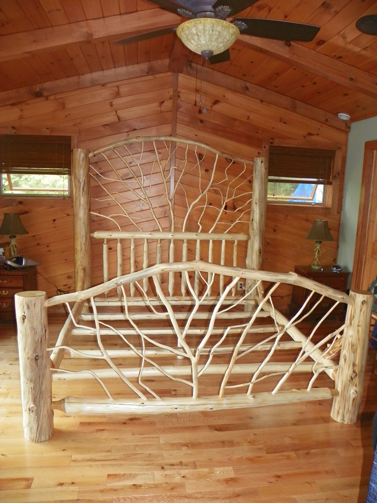 Custom Made Rustic Log Bed With Twig Woodwork By Adirondack LogWorks. Twig  Headboard