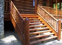 Custom-made log railings and stairs by Adirondack LogWorks